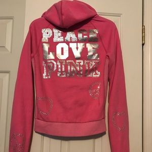 M Victoria's Secret PINK zip bling hoodie
